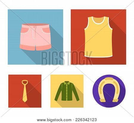 Shirt With Long Sleeves, Shorts, T-shirt, Tie.clothing Set Collection Icons In Flat Style Vector Sym