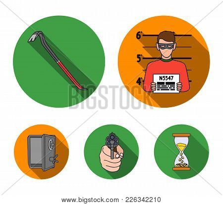 Photo Of Criminal, Scrap, Open Safe, Directional Gun.crime Set Collection Icons In Flat Style Vector
