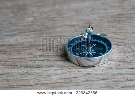 Success Family Guidance For Bright Future Direction, Happy Miniature Couple Husband Holding Wife Sta