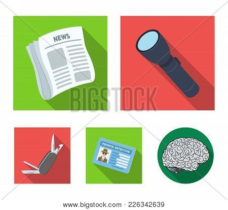 Flashlight, Newspaper With News, Certificate, Folding Knife.detective Set Collection Icons In Flat S