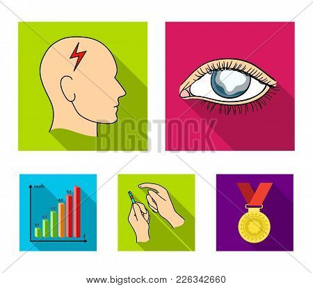 Poor Vision, Headache, Glucose Test, Insulin Dependence. Diabetic Set Collection Icons In Flat Style