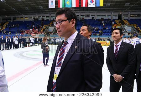 Kyiv, Ukraine - April 28, 2017: Head Coach Of South Korea Team Jim Paek Looks On After Iihf 2017 Ice