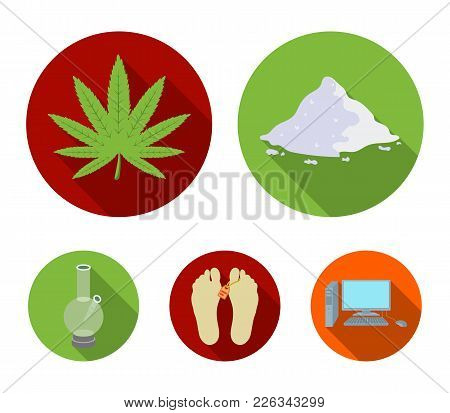 Hemp, Cocaine, Bong, Corpse In The Morgue. Drugs Set Collection Icons In Flat Style Vector Symbol St