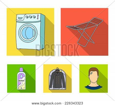 Dryer, Washing Machine, Clean Clothes, Bleach. Dry Cleaning Set Collection Icons In Flat Style Vecto