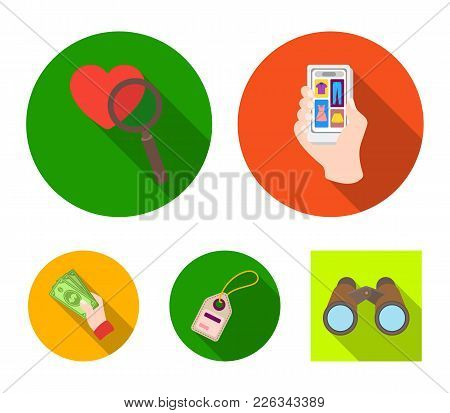 Hand, Mobile Phone, Online Store And Other Equipment. E Commerce Set Collection Icons In Flat Style