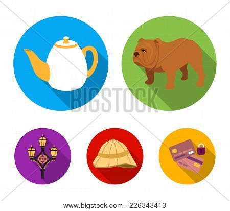 Breed Dog, Teapot, Brewer .england Country Set Collection Icons In Flat Style Vector Symbol Stock Il