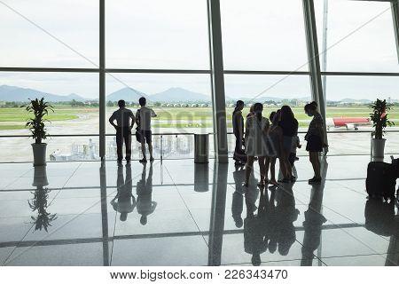Hanoi, Vietnam - June 26, 2015: Passenger Silhouettes At Departure Lounge, Noi Bai International Air