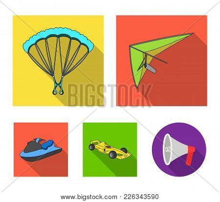 Hang Glider, Parachute, Racing Car, Water Scooter.extreme Sport Set Collection Icons In Flat Style V