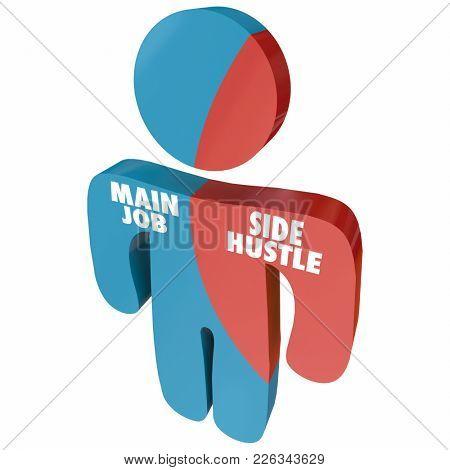 Side Hustle Vs Main Job Employee Entrepreneur 3d Illustration