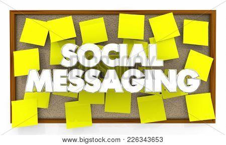 Social Messaging Bulletin Board Network 3d Illustration
