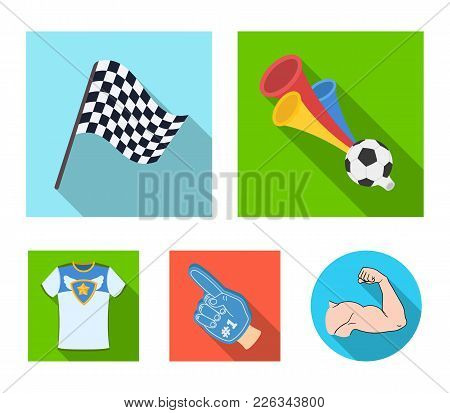 Pipe, Uniform And Other Attributes Of The Fans.fans Set Collection Icons In Flat Style Vector Symbol