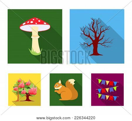 Dry Tree, Protein, Poisonous Fungus, Wildfire.forest Set Collection Icons In Flat Style Vector Symbo