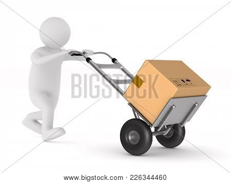 men with cargo box on back. Isolated 3D illustration