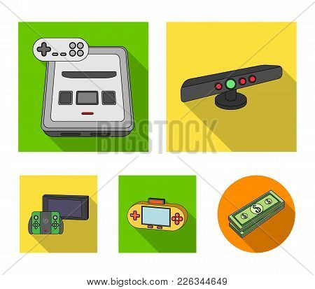Game And Tv Set-top Box Flat Icons In Set Collection For Design.game Gadgets Vector Symbol Stock  Il