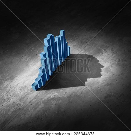 Business Data Analysis As An Abstract Financial Chart And Finance Diagram Casting A Shadow Shaped As