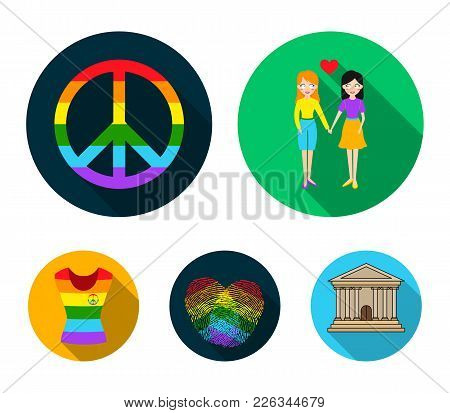 Lesbians, Fingerprints, Sign, Dress.gayset Collection Icons In Flat Style Vector Symbol Stock Illust
