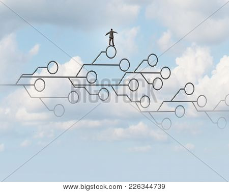 Technology Risk And High Tech Danger Concept  As A Computer Circuit Symbol In The Cloud Sky As A Met