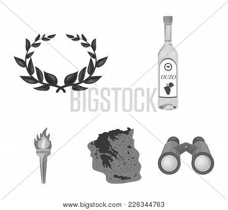 Greece, Country, Tradition, Landmark .greece Set Collection Icons In Monochrome Style Vector Symbol