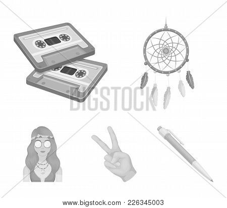 Amulet, Hippie Girl, Freedom Sign, Old Cassette.hippy Set Collection Icons In Monochrome Style Vecto