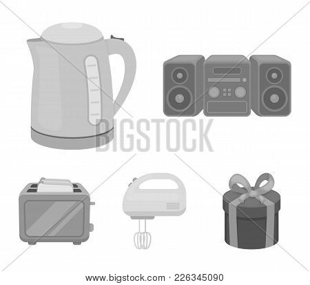 Electric Kettle, Music Center, Mixer, Toaster.household Set Collection Icons In Monochrome Style Vec