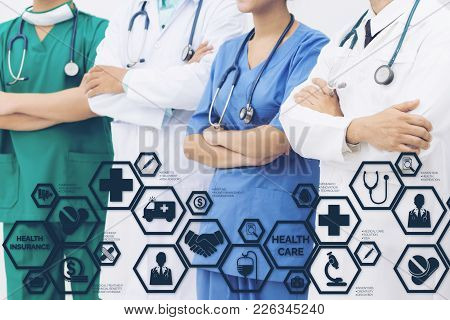 Health Insurance Concept - Doctor In Hospital With Health Insurance Related Icons In Modern Graphic