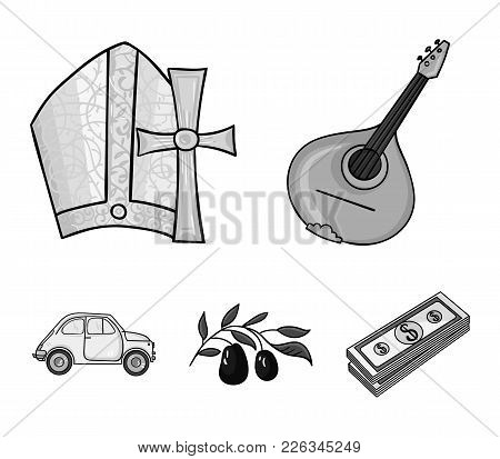 Mandolin, papa, olive, retro auto.Italy country set collection icons in monochrome style vector symbol stock illustration . poster
