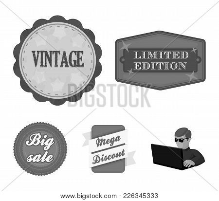 Limited Edition, Vintage, Mega Discont, Dig Sale.label, Set Collection Icons In Monochrome Style Vec