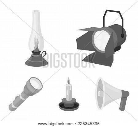 Searchlight, Kerosene Lamp, Candle, Flashlight.light Source Set Collection Icons In Monochrome Style