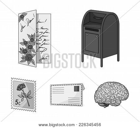 Mailbox, Congratulatory Card, Postage Stamp, Envelope.mail And Postman Set Collection Icons In Monoc