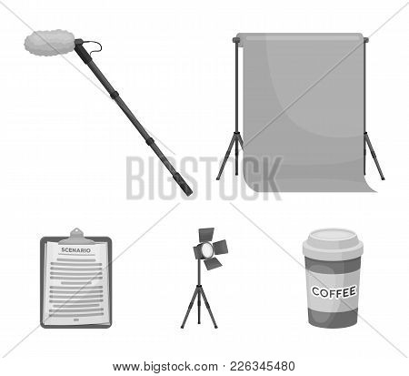 Hromakey, Script And Other Equipment. Making Movies Set Collection Icons In Monochrome Style Vector