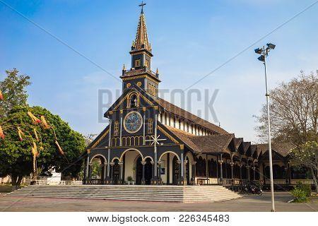 Kon Tum, Vietnam - Mar 28, 2016: Go Church In The City Of Kon Tum In The Central Highlands Of Vietna