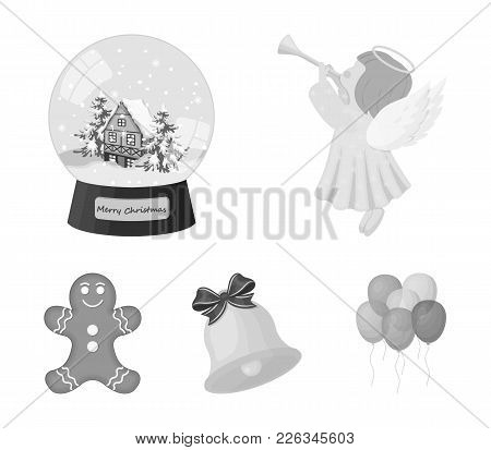 Angel, Glass Bowl, Gingerbread And Bell Monochrome Icons In Set Collection For Design. Christmas Vec