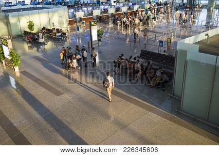 Hanoi, Vietnam - July 12, 2015: Wide View Of Hall Of Noi Bai International Airport, The Biggest Airp