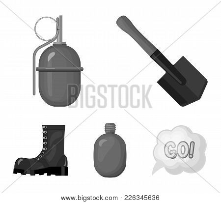 Sapper Blade, Hand Grenade, Army Flask, Soldier's Boot. Military And Army Set Collection Icons In Mo
