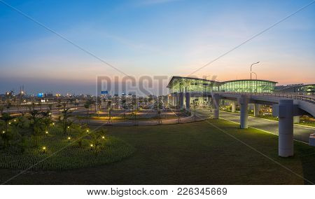 Hanoi, Vietnam - July 12, 2015: Wide View Of Noi Bai International Airport At Twilight, The Biggest