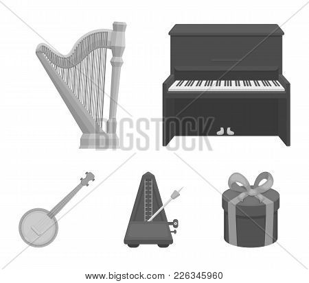 Banjo, Piano, Harp, Metronome. Musical Instruments Set Collection Icons In Monochrome Style Vector S