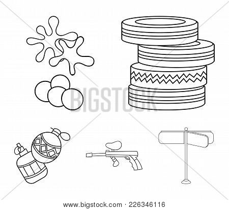 Competition, Contest, Equipment, Tires .paintball Set Collection Icons In Outline Style Vector Symbo