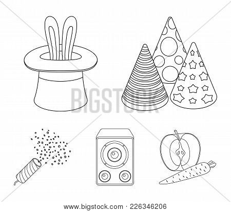 Tricks, Music And Other Accessories At The Party.party And Partits Set Collection Icons In Outline S