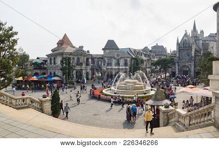 Da Nang, Vietnam - Apr 2, 2016: Panorama View Of  Ba Na Hills Mountain Resort, The Multi-level Compl
