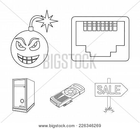 Virus, System Unit And Other Components. Personal Computer Set Collection Icons In Outline Style Vec
