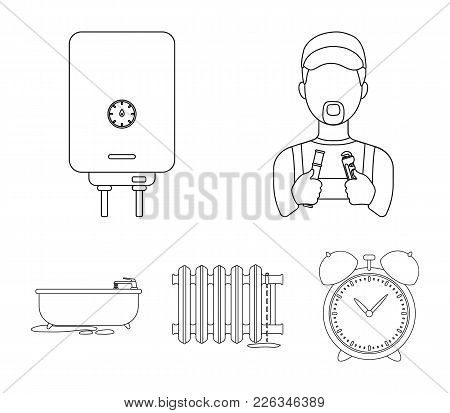 Plumber, Boiler And Other Equipment.plumbing Set Collection Icons In Outline Style Vector Symbol Sto