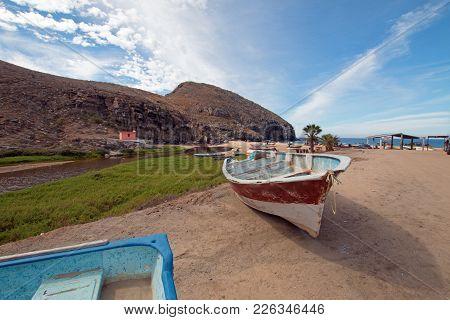 Small Fishing Boat / Ponga At Punta Lobos Beach On The Coast Of Baja California Mexico Bcs