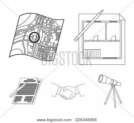 House Plan, Documents For Signing, Handshake, Terrain Plan. Realtor Set Collection Icons In Outline