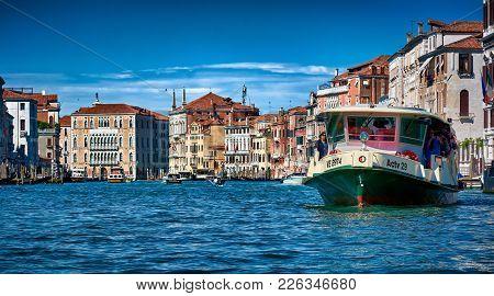 Venice, Italy - May 21, 2017: Venice, Italy - May 21, 2017: Beautiful View Of Old Buildings, Gondola