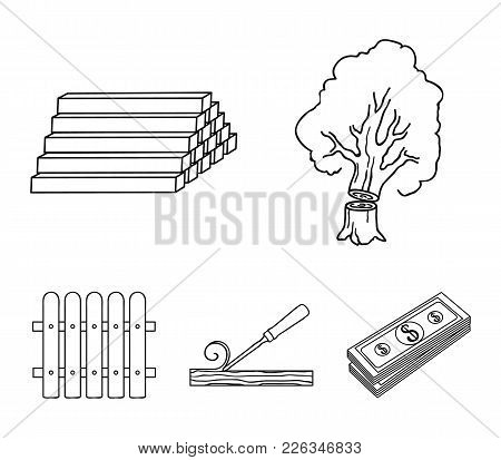 Wood, Logs In A Stack, Chisel, Fence. Lumber And Timber Set Collection Icons In Outline Style Vector