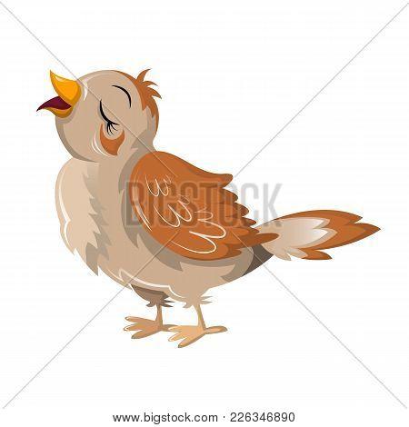 Beautiful Funny Cartoon Bird Nightingale. Large Colorful Migrating Bird, Nightingale Making Beautifu