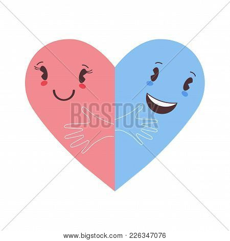 Trendy Romantic Flat Vector Illustration: Two Cute Halves Of Heart Shape Embracing Each Other. Great