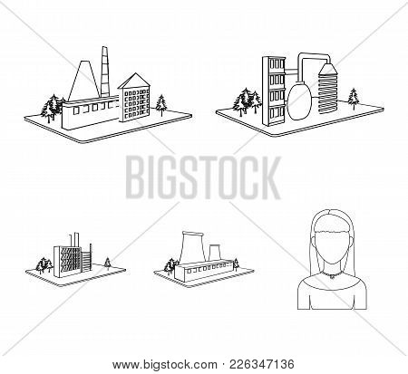 Processing Factory, Metallurgical Plant. Factory And Industry Set Collection Icons In Outline Style