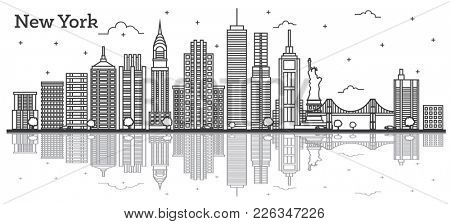 Outline New York USA City Skyline with Modern Buildings Isolated on White.  New York Cityscape with Landmarks with Reflections.