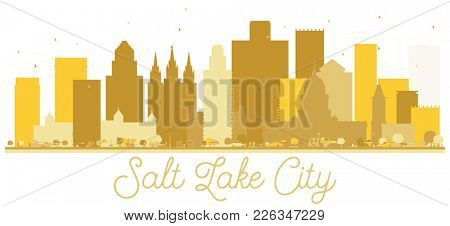 Salt Lake City Utah USA City skyline golden silhouette. Simple flat concept for tourism presentation, banner, placard or web site. Salt Lake City Cityscape with landmarks.